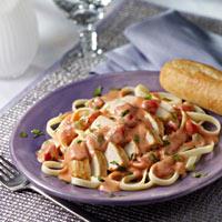 Chicken and Pasta with Tomato Alfredo Cream Sauce