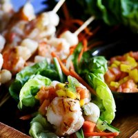 Grilled Shrimp Lettuce Cups with Tropical Fruit Salsa Recipe