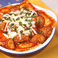 Meatball and Cheese Baked Ravioli