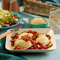 Ravioli with Tomatoes, Onions and Zucchini