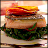 Crispy-Skin Salmon with Swiss Chard and Beet Reduction