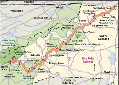 Blue Ridge Parkway Nc Map North Carolina Scenic Drives: Blue Ridge Parkway | HowStuffWorks