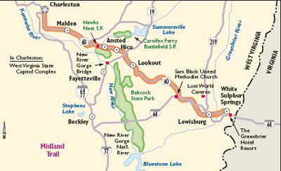 West Virginia Scenic Drives: Midland Trail | HowStuffWorks on map of hawaii state capitol, map of university of virginia, map of indiana state house, map of fort lee virginia,