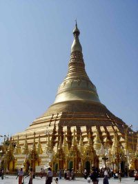 Shwedagon Pagoda is radiant with light gleaming from 60 tons of gold pounded into thin leaves.
