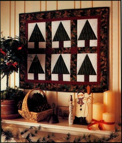 Simple Elegant Christmas Trees Quilted Wall Hanging
