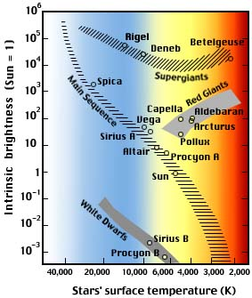 the hertzsprung-russell diagram  the sun, the 12 brightest stars of the  northern