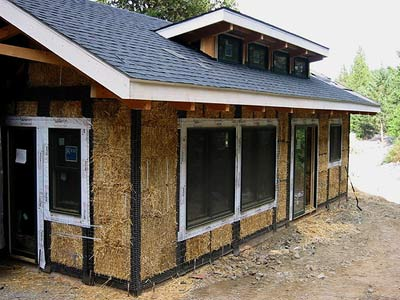 A modern straw bale home before plaster is applied
