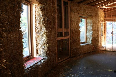 thicks walls of straw bale home