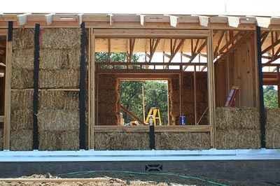 Straw bale house mid-construction