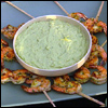 Sugar Cane Skewered Shrimp, Marinated with Lime, Chili and Chives