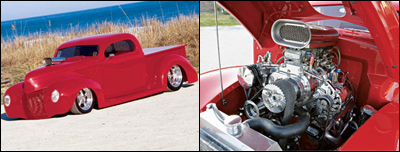1940s Ford pickup with protruding Roots supercharger