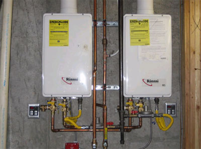 Two water heaters in parallel