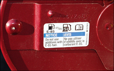 E85 fuel door sticker
