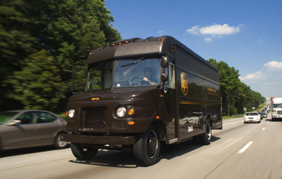 A UPS delivery vehicle in Atlanta, GA