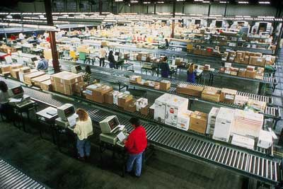 The interior of a regional UPS hub