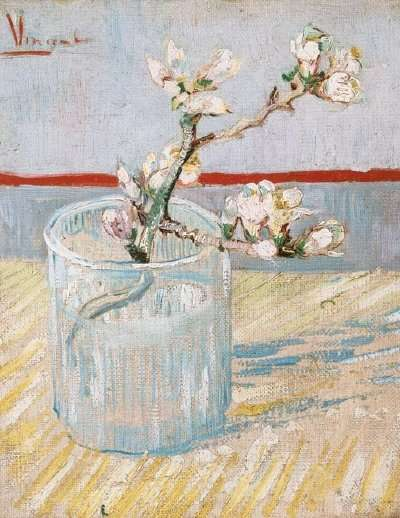 Sprig of Flowering Almond Blossom in a Glass by Vincent van