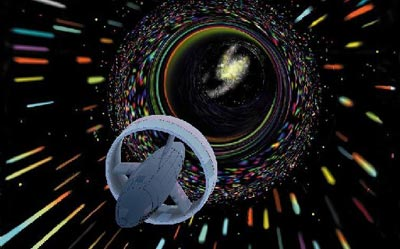 An artist's rendition of a spaceship traveling at warp speed.