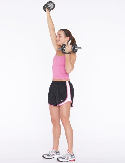 Extend the right arm straight up overhead.