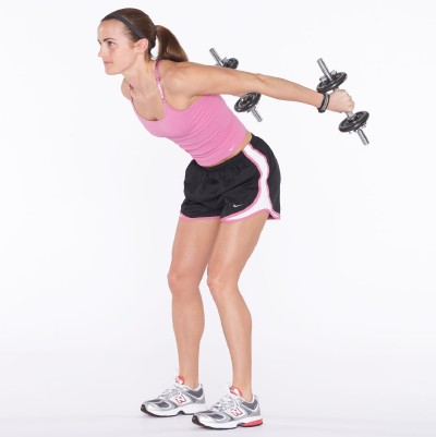 Keeping upper arm parallel to floor by stabilizing shoulder joint, straighten arms out behind you and squeeze triceps.