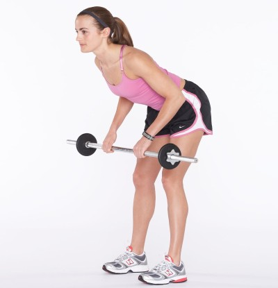 Bend at elbows and bring barbell up toward body.