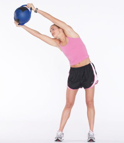 Lift torso and slowly stretch to the right side.