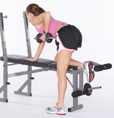Pull left dumbbell up by bending at elbow. Squeeze left shoulder blade toward spine.