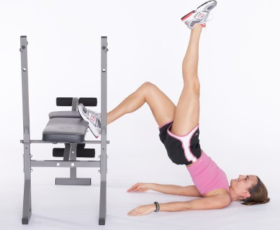 Keep right leg on bench, straighten out left leg up.