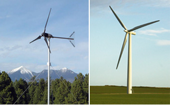 a residential wind turbine and a utility-scale wind turbine
