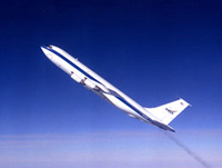 NASA's KC-135A in a 45-degree ascent.